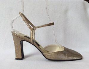 ac8b49d23b0 Stuart Weitzman Sz 9 B Gold Glitter Fabric Rhinestone Detail Ankle ...