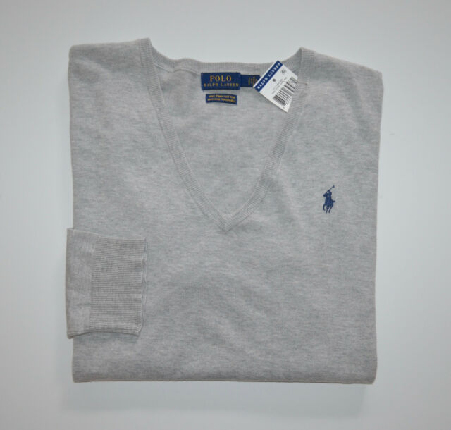 Polo Ralph Lauren Women s XL Gray Pima Cotton Sweater Pony Logo V ... c63b51aec
