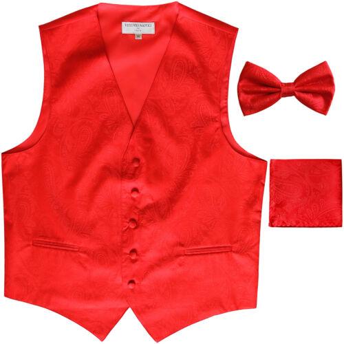 New Polyester Men/'s Tuxedo Vest Waistcoat /& Bow tie/_hankie Paisley red formal