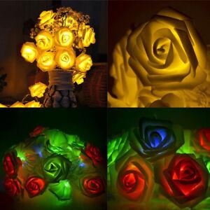 AU_ FP- KQ_ KQ_ BU_ 1m 10LED PE Rose Flower Fairy String Light Holiday Xmas Tree