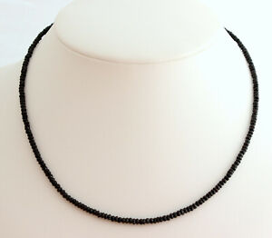 Black Spinel Necklace Precious Stone Faceted Necklace 925 Silver Noble ca.44 CM