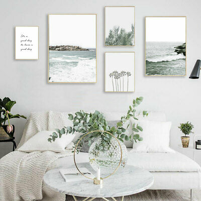 Snow Mountain Leaf Ocean Waves Nature Poster Seascape Canvas Wall Print Picture