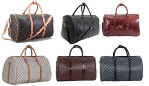 Leather-Style-Faux-Leather-Luggage-Holdall-Weekend-Duffel-Cabin-Travel-Gym-Bag