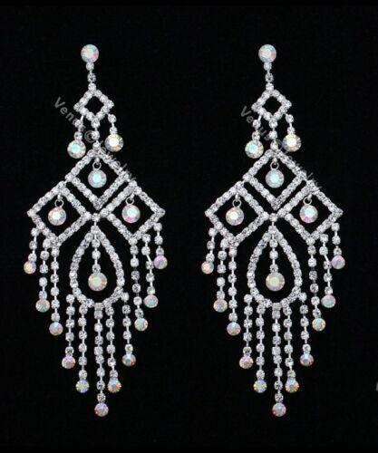"4.75/"" Bridal Pageant AB Crystal Chandelier Earrings"