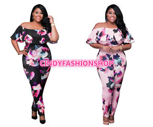 Usa Women Ruffle Off Shoulder Floral Plus Size Party Club Sexy