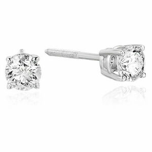2/3 cttw Certified Natural Round Brilliant Diamond Stud Earrings 14K White Gold