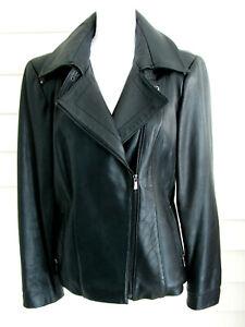 Jones-New-York-Black-Leather-Car-Coat-Jacket-Size-L-Soft-Front-Zip-Lined-Pockets