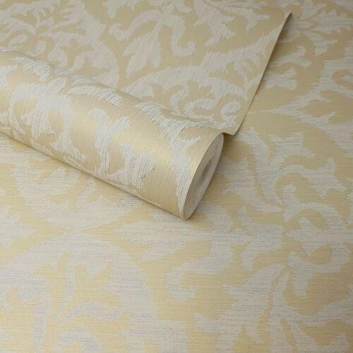 Fine Décor-Sumatra Oro y Beige Ikat Brillo floral del damasco Wallpaper-FD20700