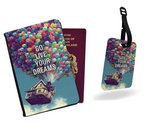 Go Live le vôtre rêves Carl Ballon Disney Adventure Passport Cover /& Luggage Tag