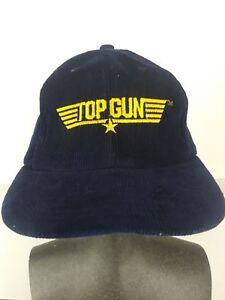 fbf0c6babe5 Vtg TOP GUN Blue Corduroy BASEBALL HAT Pilot Cap SNAPBACK One Size ...
