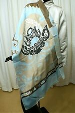 "LEONARD, Paris Asian Inspired Lotus & Cloud Patterned Long Scarf/Shawl 68"" x 26"""