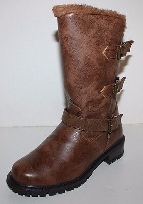 "GH Bass NIB Women 6 7 M Renny Brown 11"" Fur Lined Winter Boots - Water Resistant"
