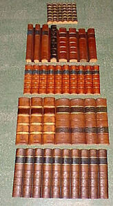Antique-leather-bound-book-spines-faux-false-fake-replica-approx-2-linear-mtrs