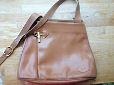 VINTAGE LONGCHAMP Tan Leather Cross Body Shoulder Bag with Toggle Accents