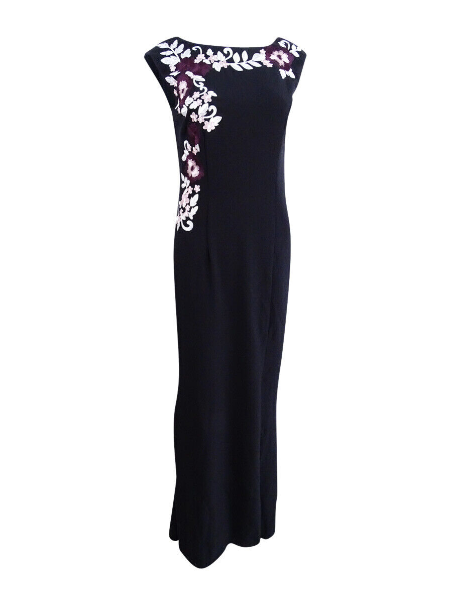 SL Fashions Women's Embroidered Scuba Crepe Gown