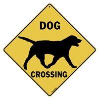 Dog Crossing Sign--silhouette--16 Diagonal, Indoor/outdoor Use--metal
