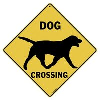 Dog Crossing Sign--silhouette--16 Diagonal, Indoor/outdoor Use--metal