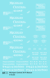 K4 O Decals Michigan Central 34 Ft Boxcar White