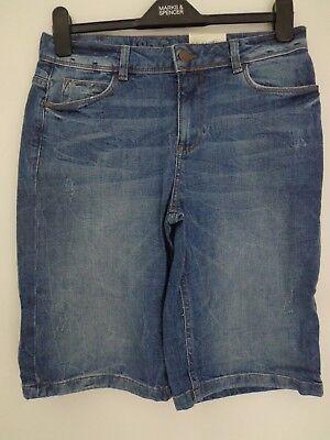 M/&S Boyfriend Indigo Collection Sizes 8 10 12 Distressed Denim Shorts Bnwt