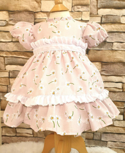Dream Rosa Daisy Stampa per neonate Dress Abito 0-3 ANNI o Bambole Reborn
