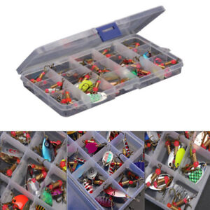30pcs-Colore-Truite-Cuillere-Metal-Peche-Leurres-Spinner-Appats-Bass-Tackle