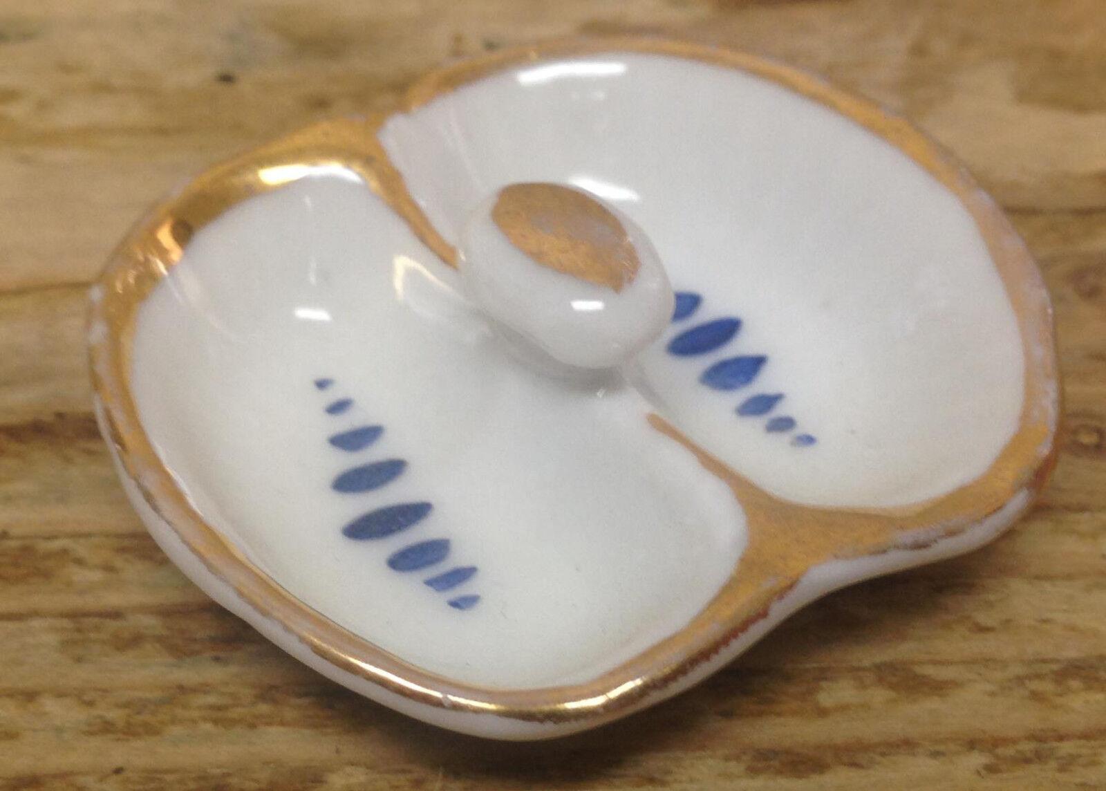 Antik Puppenhaus Speiseteller Porzellan Divided Blau-Weiß Europäische Seltener
