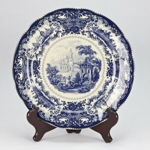 NEW-antique-style-porcelain-decorative-plate-vintage-Blue-white-Willow-edwardian