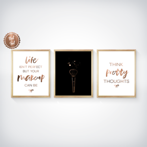 Think pretty thoughts Make-up Set of 3 Makeup prints Copper makeup