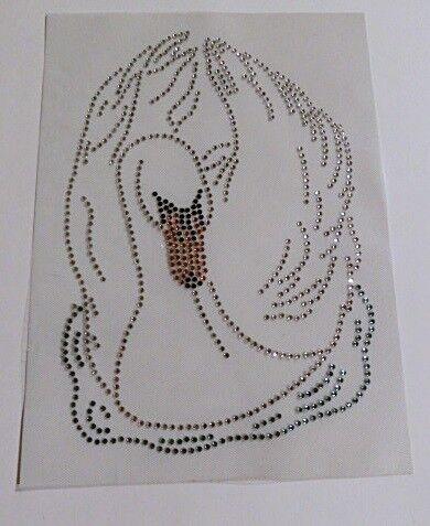 HotFix perchas imagen pedrería caballo 2 caballos cabezas 120924 Crystal bandage karostonebox