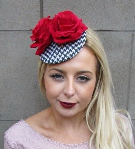 Black White Houndstooth Red Rose Flower Fascinator Hat Hair Clip Races Mod 4995