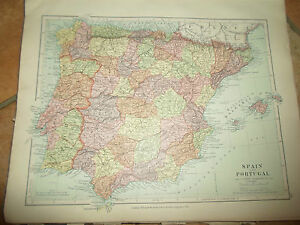Map Of Spain Geography.Details About Map C1920 Spain Portugal From Stanfords London Atlas Of Universal Geography