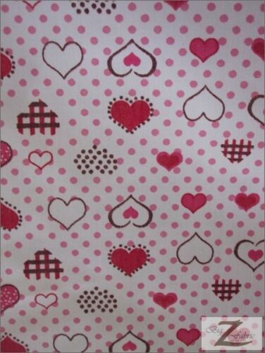 HEART DOTTED POLY COTTON PRINT FABRIC-Red-POLYCOTTON 58//59 P85