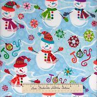 Christmas Fabric - Snowman Joy Snowflake Toss Blue Hoffman Cotton Yard