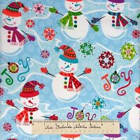 Christmas Fabric - Snowman Joy Snowflake Toss Blue Hoffman Cotton Yard
