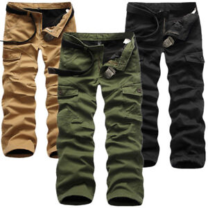 Men-Winter-Cotton-Fleece-Lined-Cargo-Combat-Work-Pockets-Long-Pants-Trousers-Lot