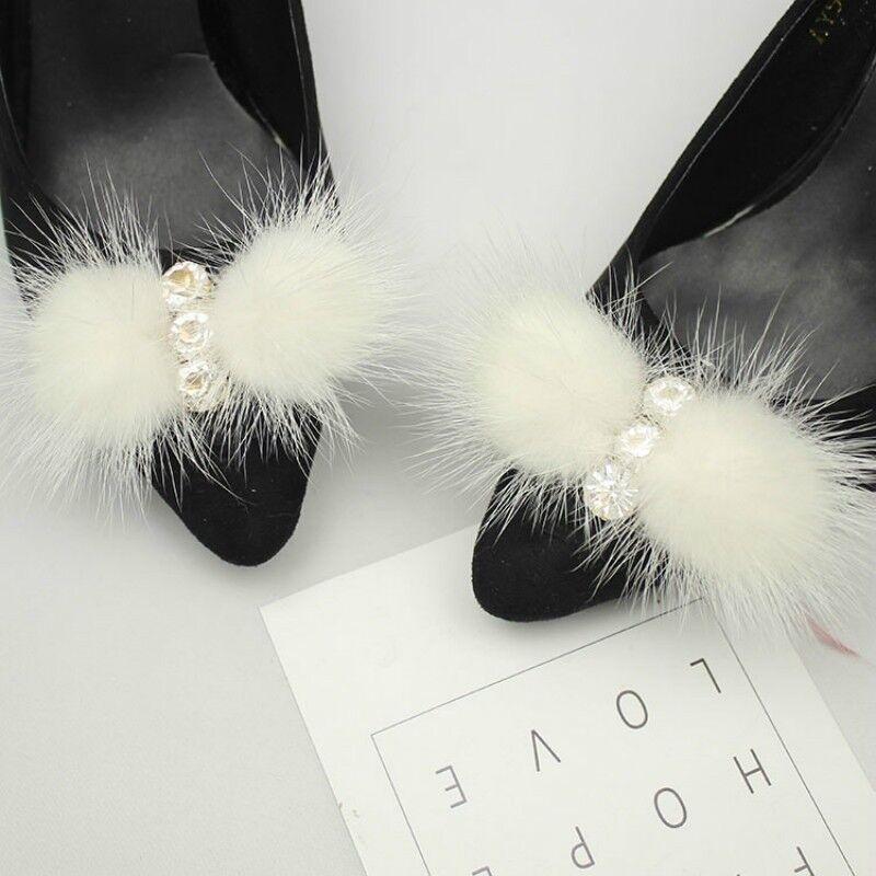2 X Mink Fur Pom Pom Shoe Clip Buckle Furry Fluffy Diamante Ornament Decor Craft