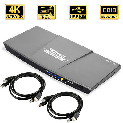Dual Monitor 4x2 HDMI KVM Switch HDMI VGA USB 2.0 Wireless Keyboard Mouse