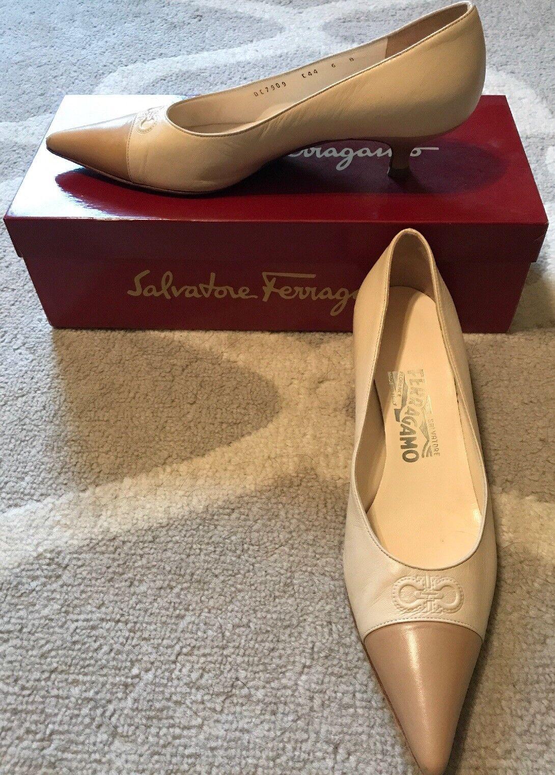 SALVATORE FERRAGAMO VINTAGE VINTAGE VINTAGE PUMPS heels BEIGE TAN 6 B  CARRER  4cm 4c99bb