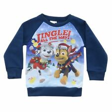 Kids Merry Christmas PAW Patrol Jumper Fleece Red Chase Marshall Rubble Age 2-3