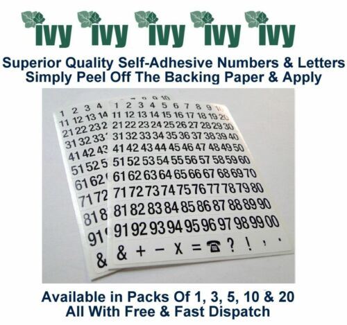 Ivy Self Adhesive Sticky Label Stickers Labels Pack Of 3-9mm 1-99 Numbers