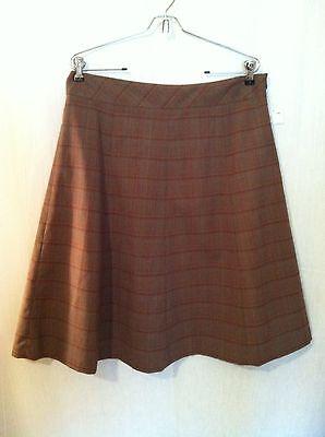 Covington Skirt Sz 12 Brown Plaid Side Zip New 160519