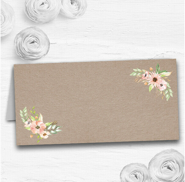 Rustic Vintage Watercolour Peach Floral Wedding Table Seating Name Place Cards