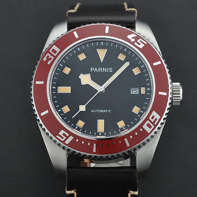 43mm Parnis Stainless Steel Case Black Dial Red Bezel Auto Mens Watch PA4312SRO