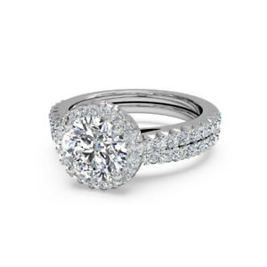 1.60 Ct Round Moissanite Engagement Superb Band Set Solid 18K White Gold Size 8