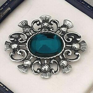 Vintage-Emerald-Green-Glass-Cabochon-Celtic-Scottish-Thistle-Pewter-Brooch-Pin