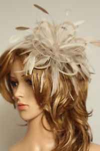 White Fascinator hat with taupe nude highlight//choose any colour satin//feathers