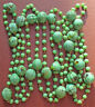 """52"""" Vintage green glass lampwork necklace w/ 9mm grooved + 4mm beads"""
