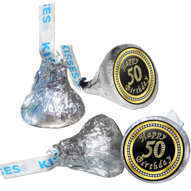 108 Happy 50th Birthday Hershey Kiss Labels Stickers Party Favors Gift Bags