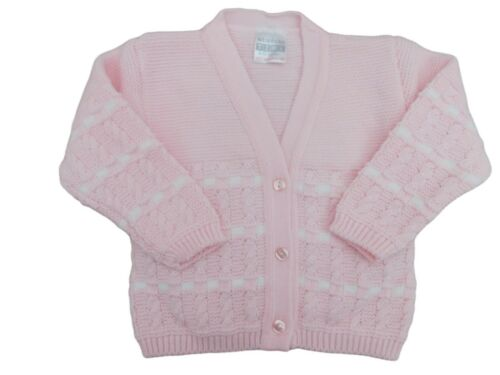 BNWT Baby girls pink or white thick knitted cardigan Newborn  0-3 m up  24 mths