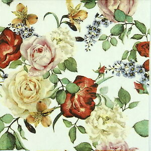 4x Paper Napkins for Decoupage Decopatch Vintage Roses White